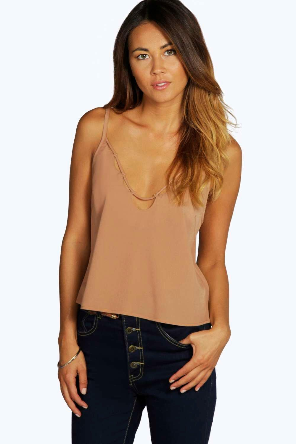 Caged Detail Crop Cami mocha
