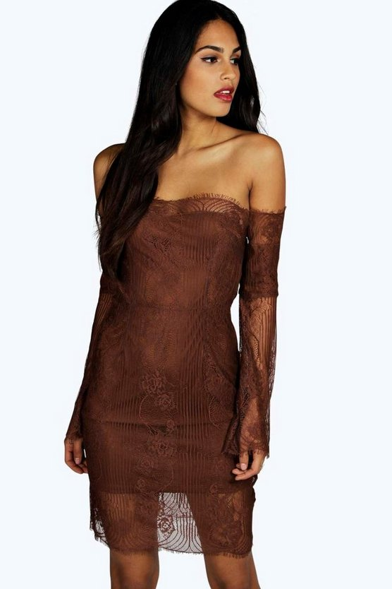 Boutique Iris Off Shoulder Lace Bodycon Dress
