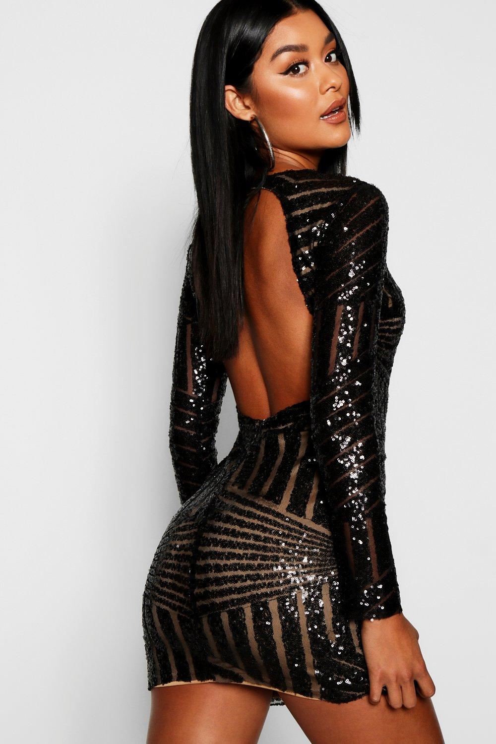 Boutique Beth Sequin Open Back Bodycon Dress