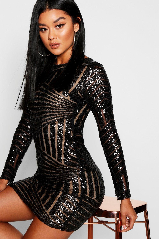 Boutique Beth Sequin Open Back Bodycon Dress - Boohoo