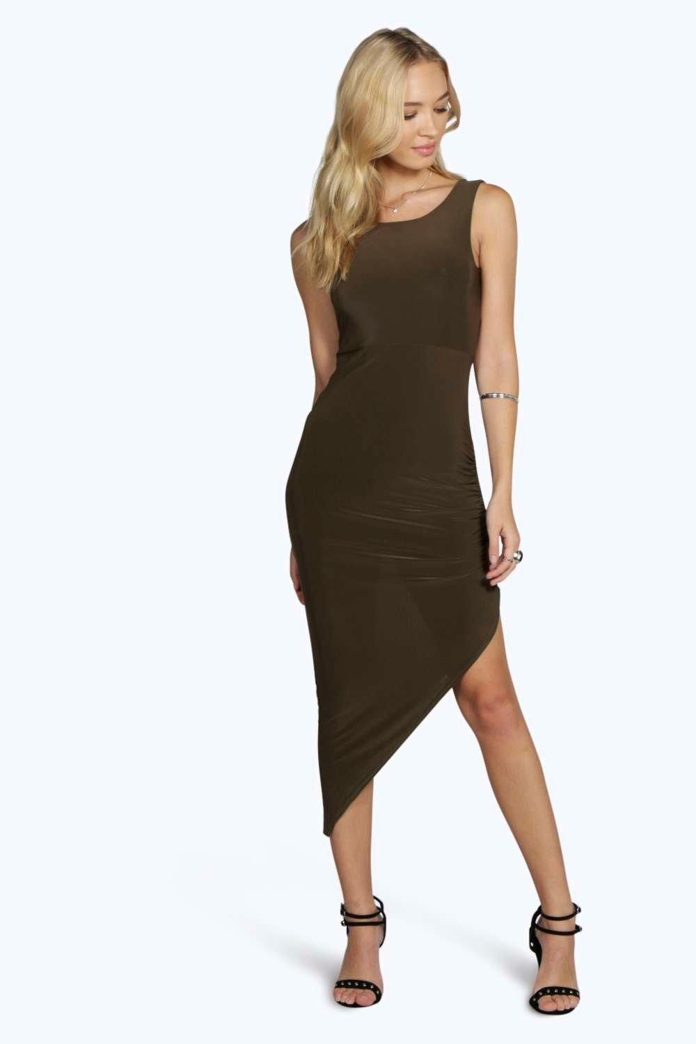 Joy Slinky Cross Back Ruched Midi Dress