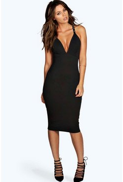 Kerry Stud Strap Detail Midi Bodycon Dress