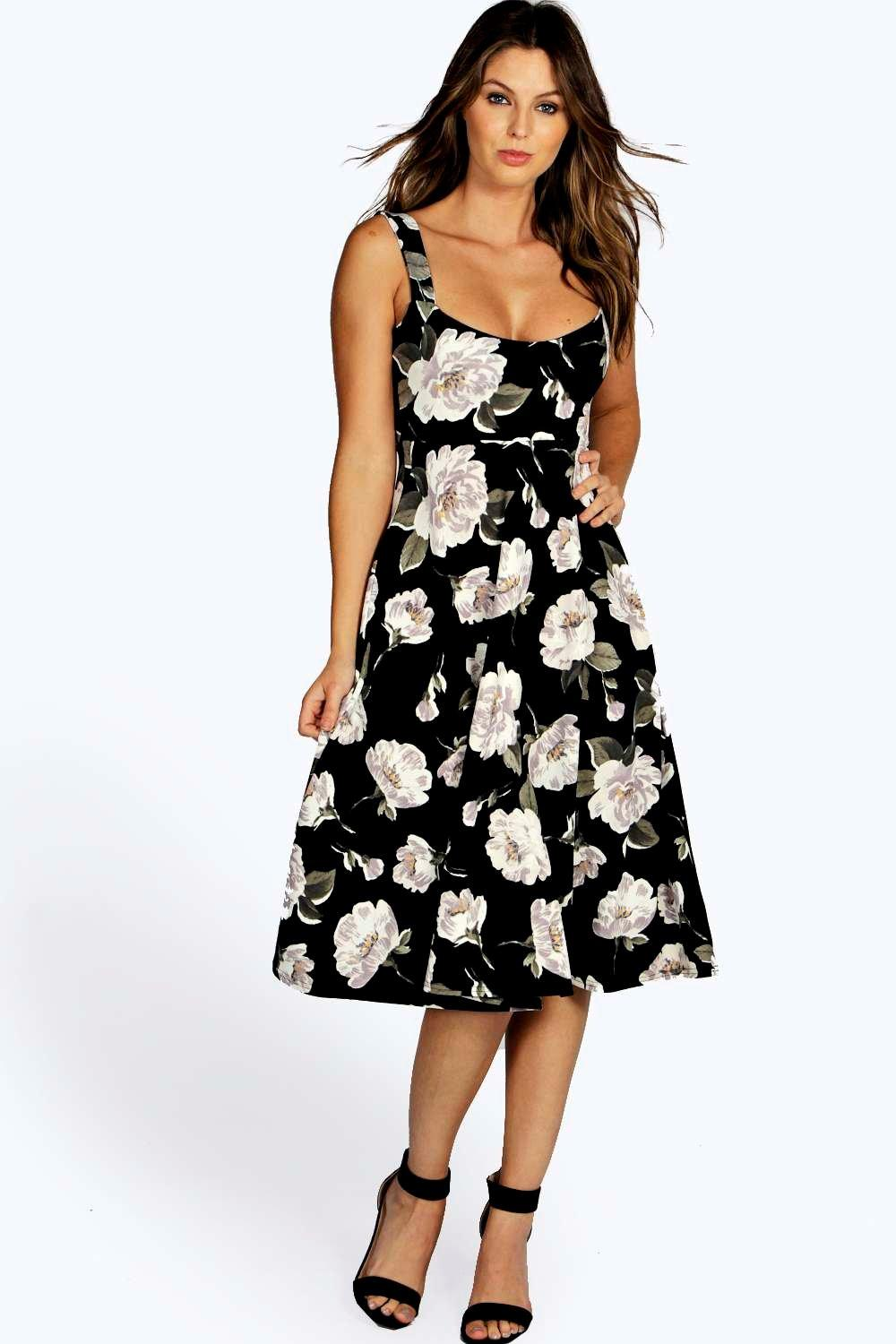 Liz Wide Strappy Sweetheart Floral Skater Dress