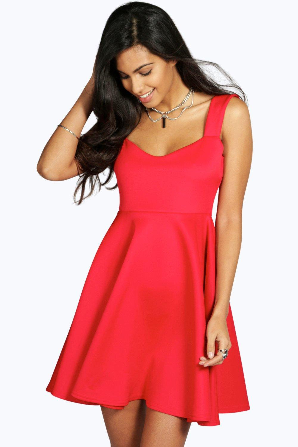 Rose Wide Strap Sweetheart Baby Doll Dress