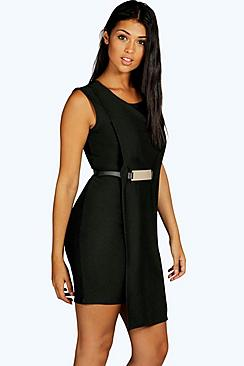 Sandy Layered Metal Belt Midi Dress
