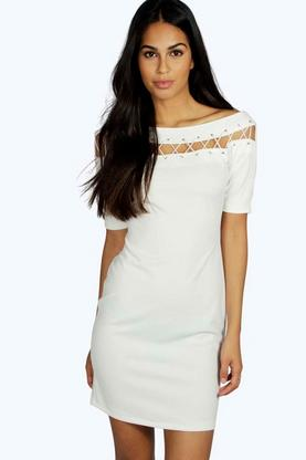 Lily Lace Up Eyelet Off Shoulder Bodycon Dress