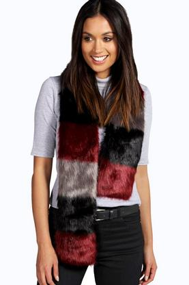 Lola Multi Colour Faux Fur Scarf