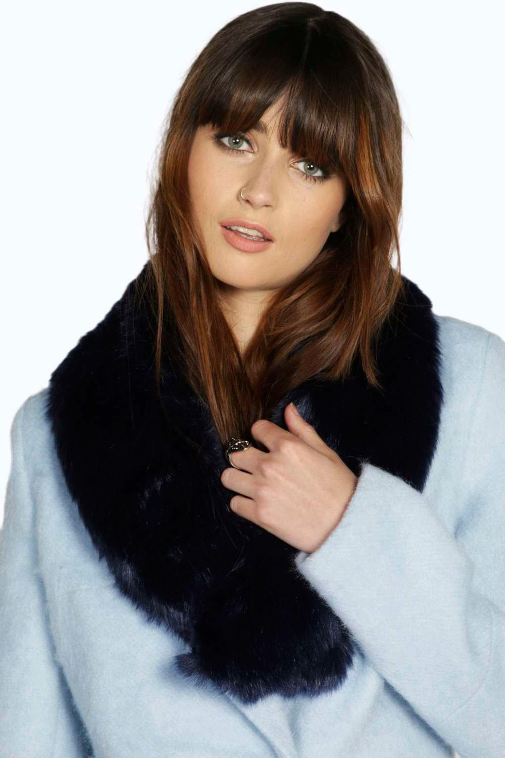 Laura Faux Fur Long Collar Scarf