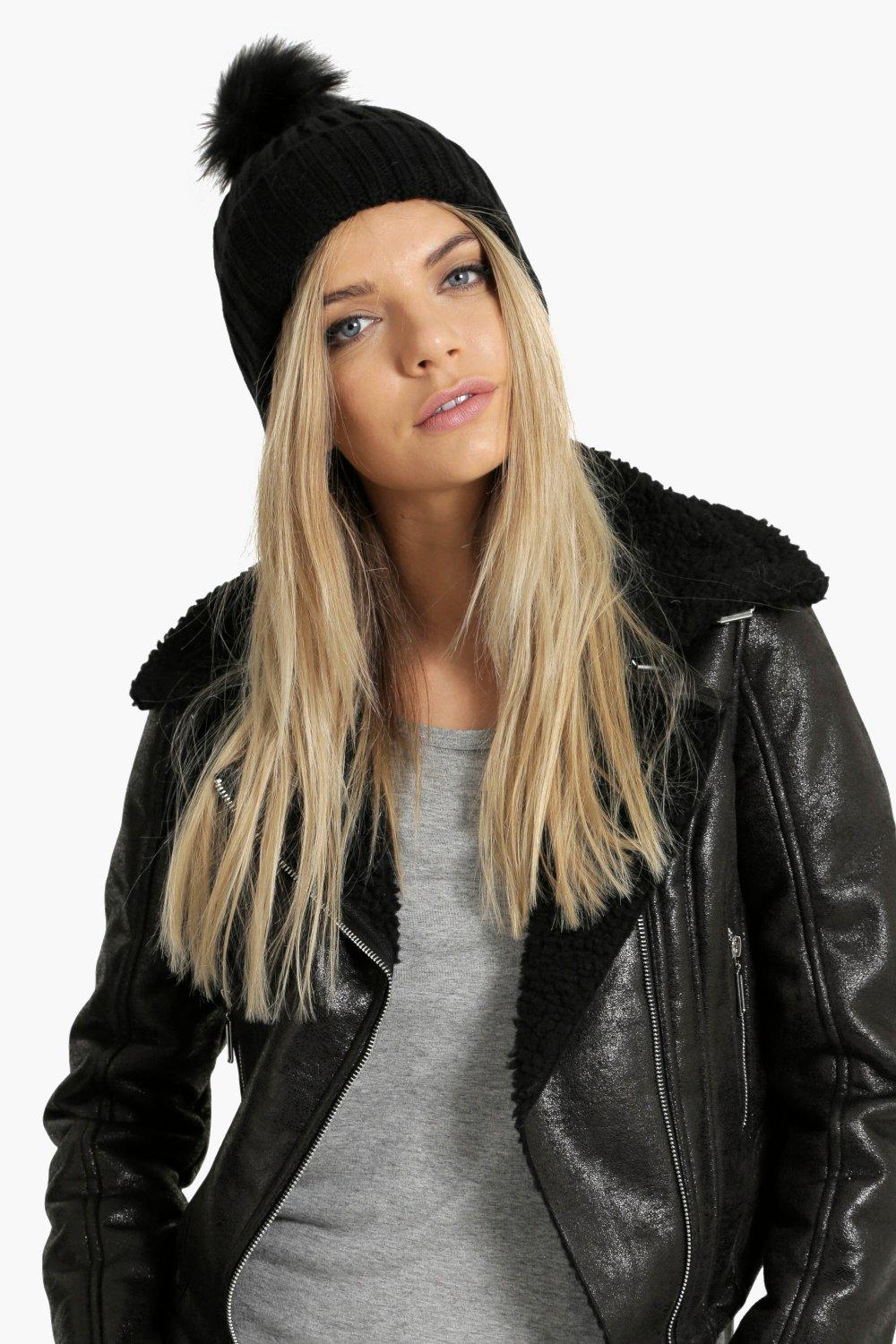 Faux Fur Pom Beanie Hat - black - Scarves and hats