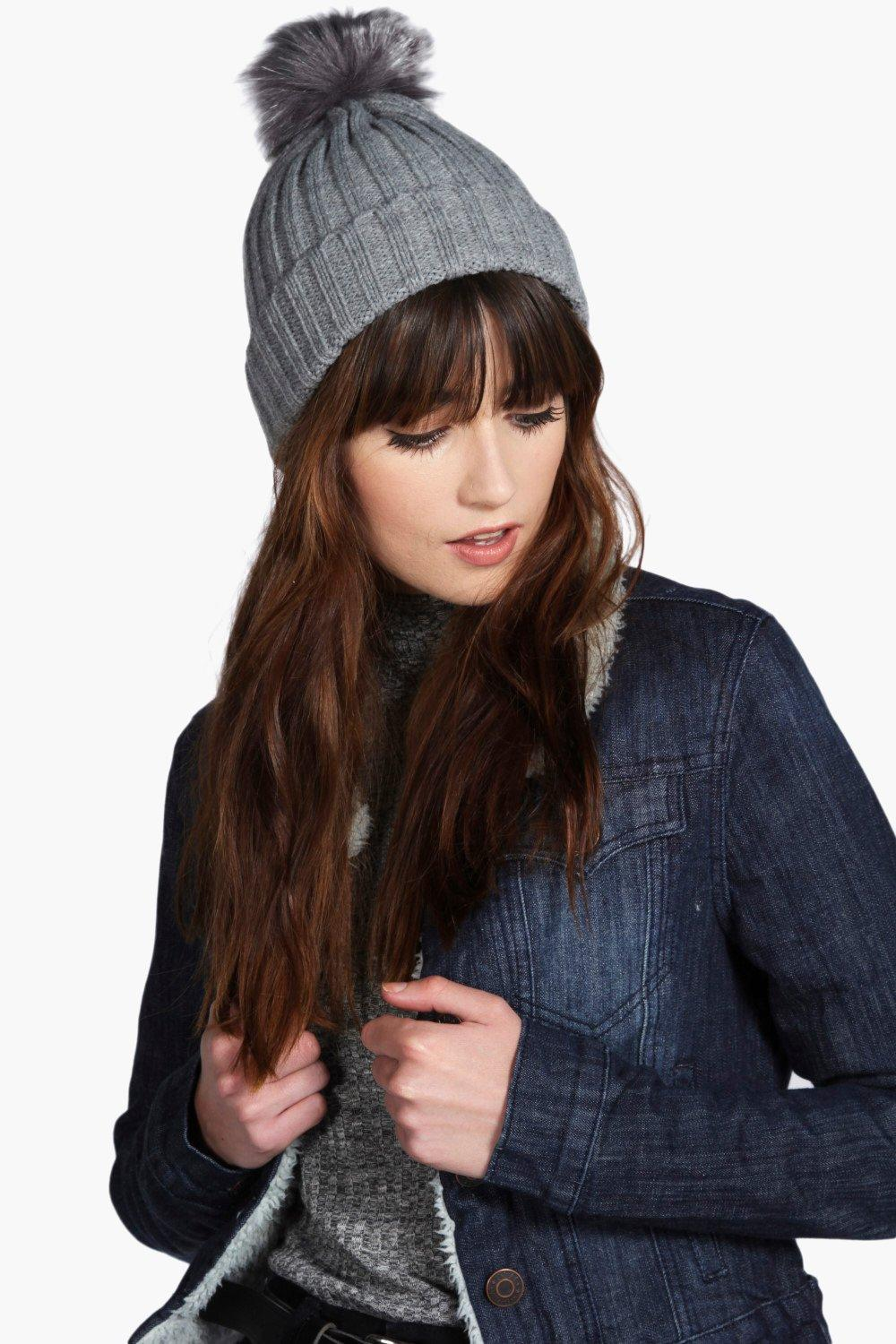 Faux Fur Pom Beanie Hat - grey - Scarves and hats