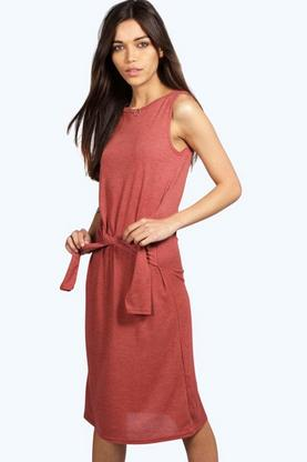 Caitlin Tie Front Fine knit Midi Dress