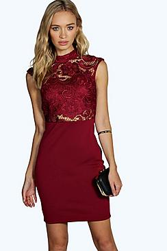 Larissa High Neck Lace Midi Dress