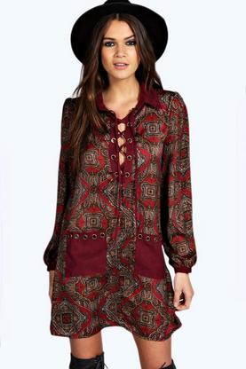 Elizabeth Paisley Lace Up Shift Dress