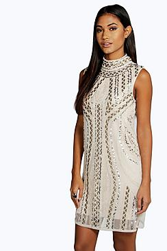 Rosie High Neck Embellished Bodycon Dress