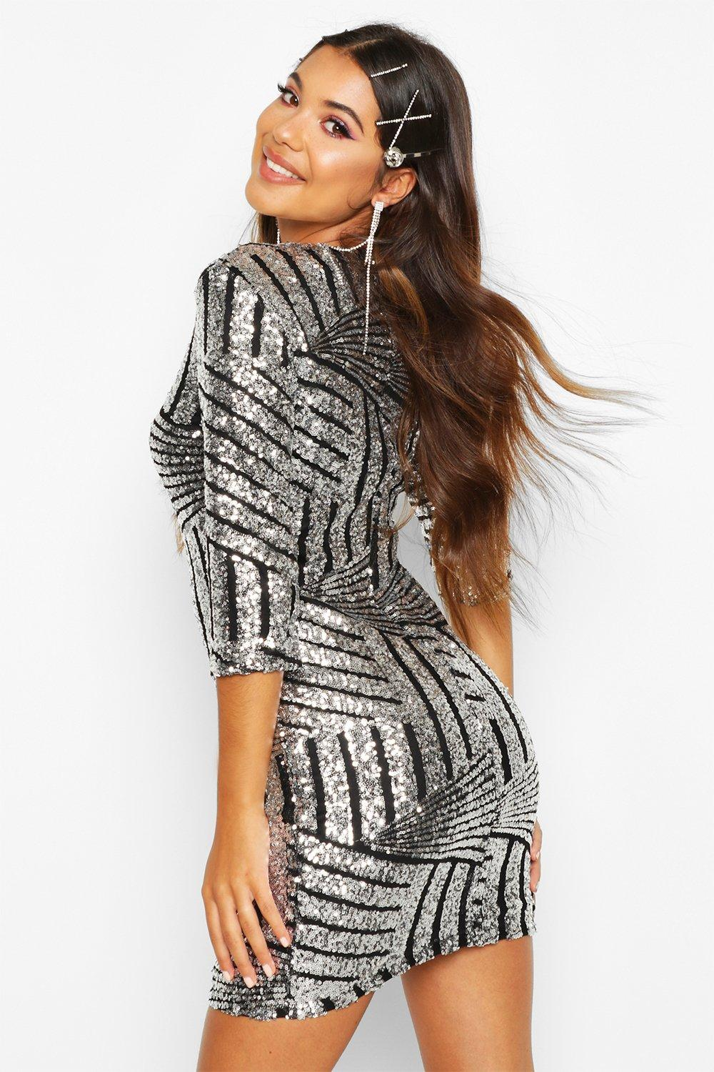 Boutique Rheann Sequin Bodycon Dress at boohoo.com