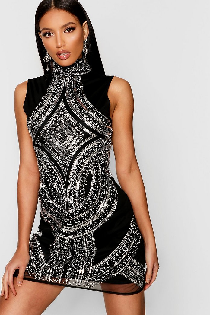 Anastacia High Neck Embellished Dress