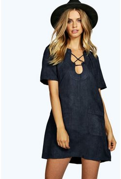Lara Lace Up Eyelet Suedette Shift Dress