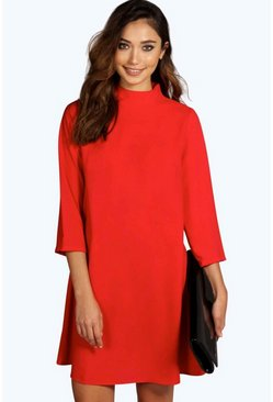 Hallie High Neck 3/4 Sleeve Shift Dress