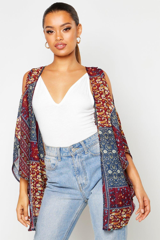 Womens Bedruckter Boho-Kimono - Mehrfarbig - M, Mehrfarbig - Boohoo.com