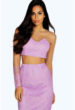 Boutique Steph Eyelash Lace High Neck Crop Top