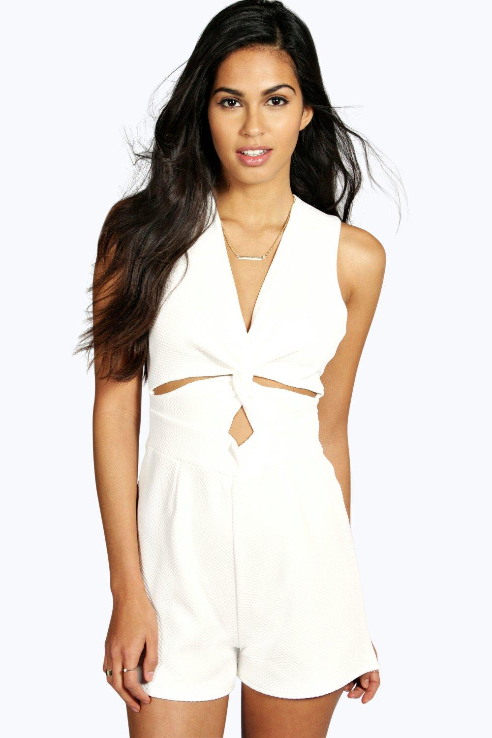 Tori Textured Knot Front Playsuit