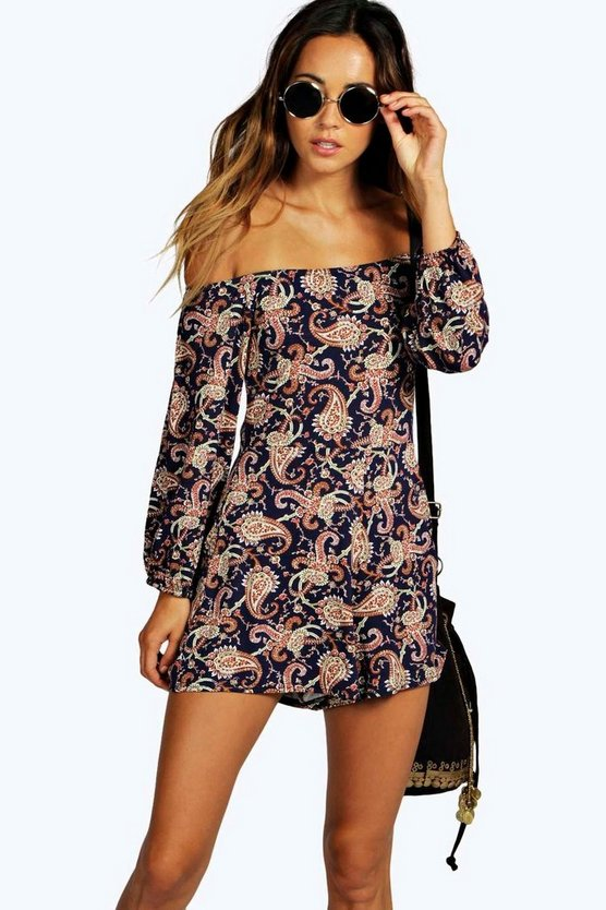 Paula Paisley Print Off The Shoulder Playsuit