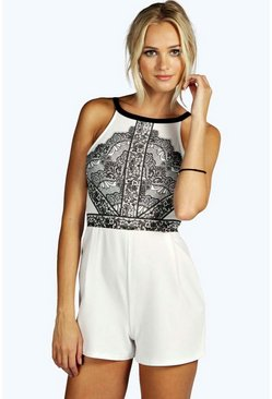 Laura Lace Print Cutaway Shoulder Playsuit