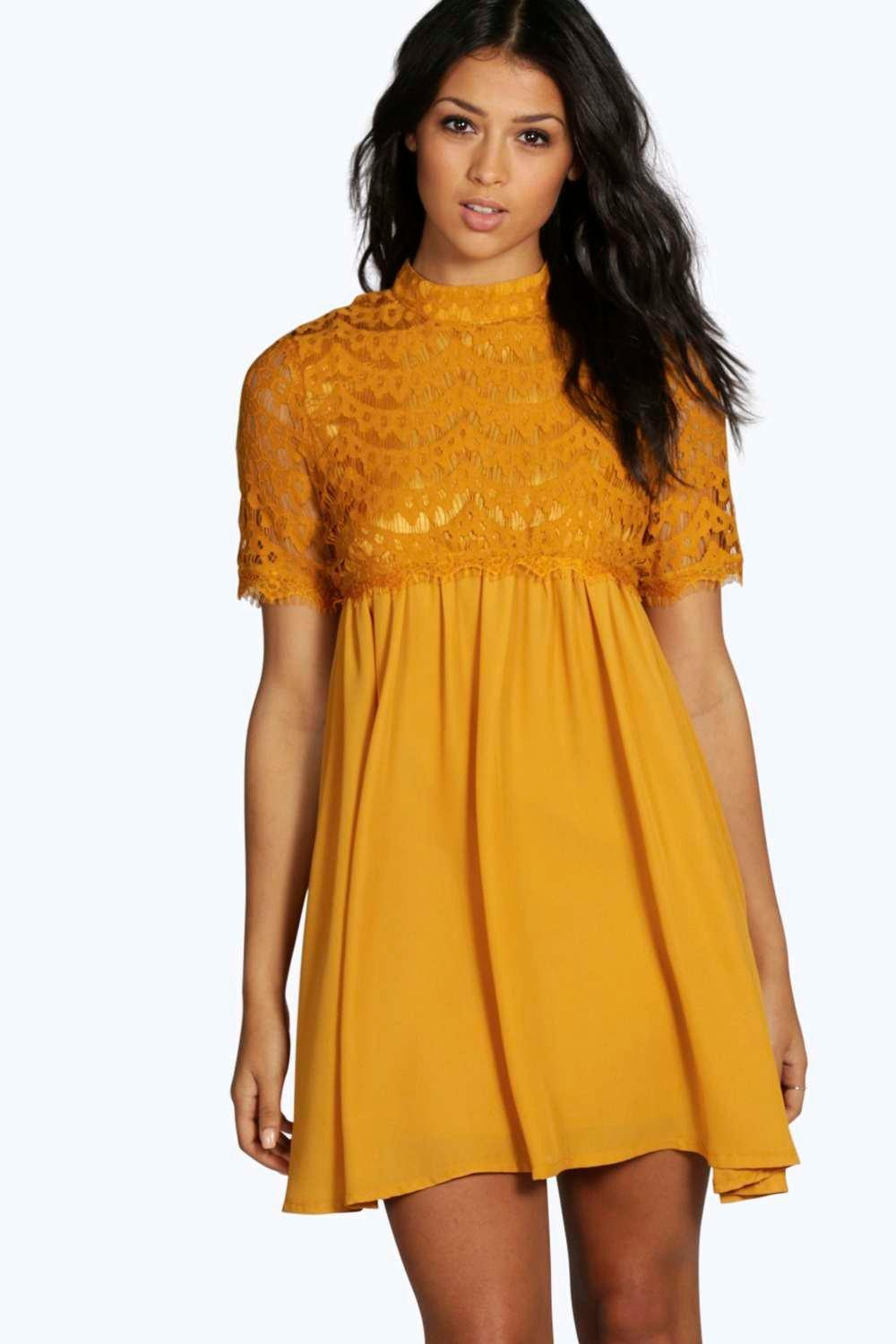 Christina High Neck Lace Smock Dress