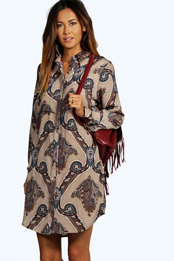 Larissa Paisley Print Shirt Dress