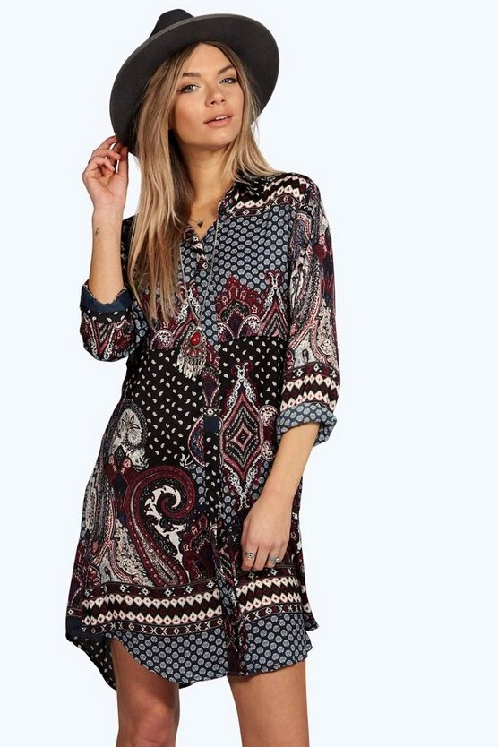 Paisley Border Print Shirt Dress
