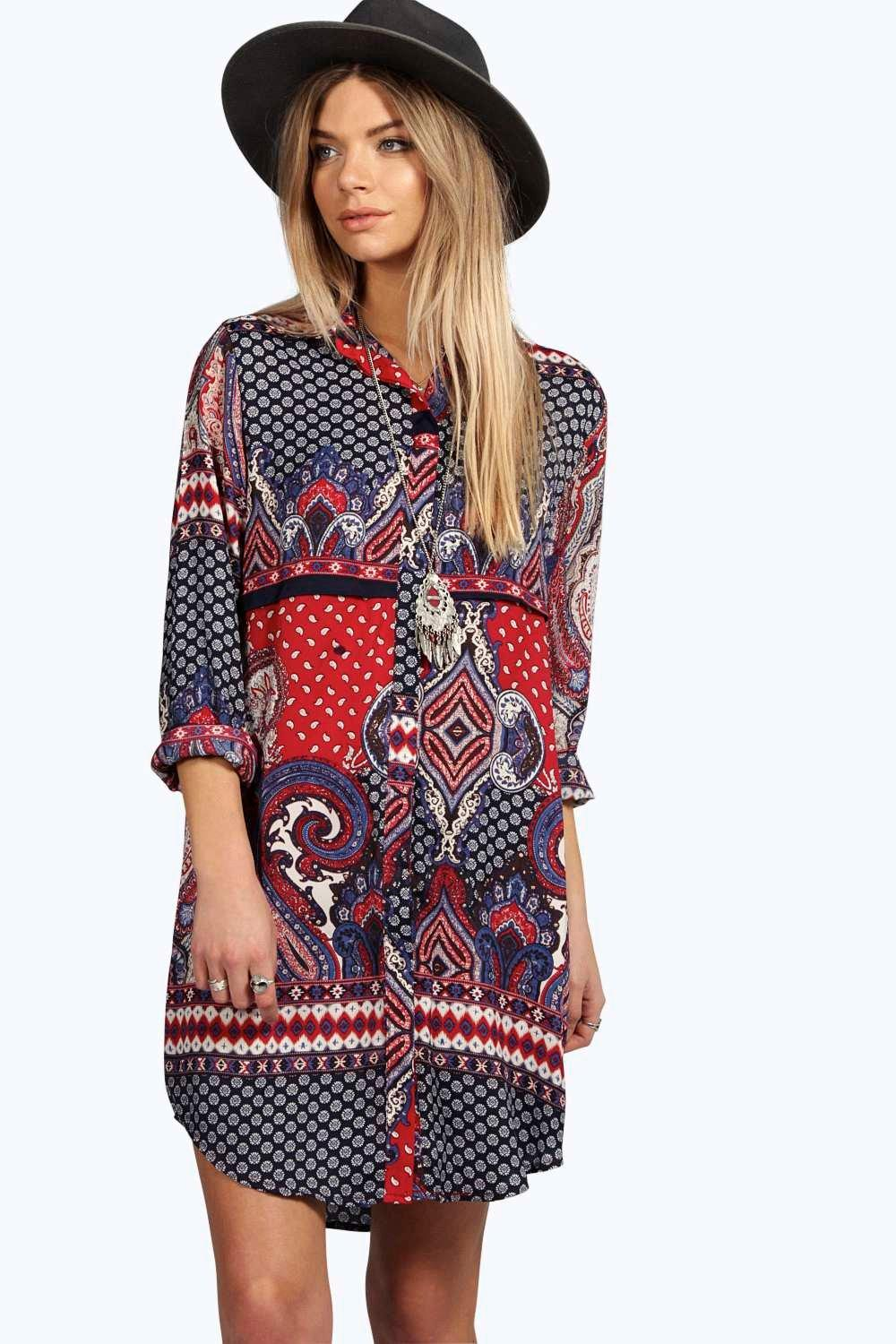 Debbie Paisley Border Print Shirt Dress
