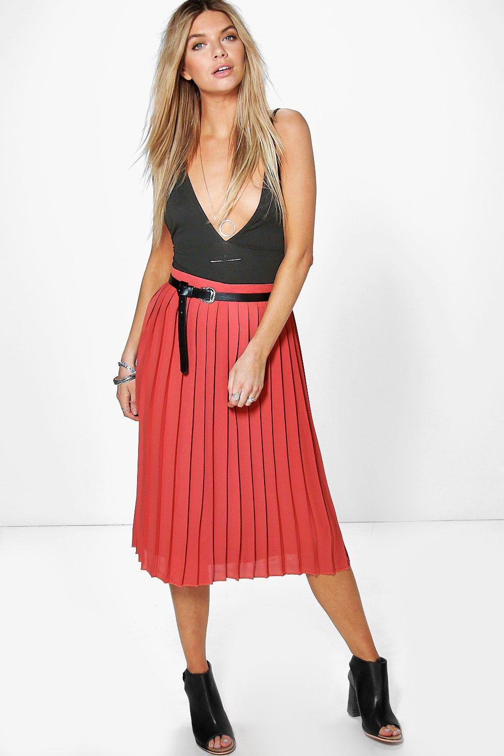 Nieve Chiffon Pleated Midi Skirt
