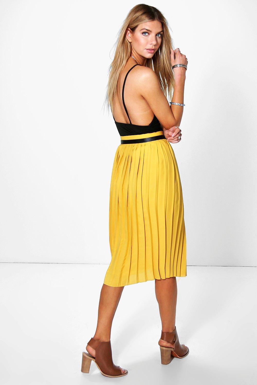 Boohoo Womens Nieve Chiffon Pleated Midi Skirt | eBay