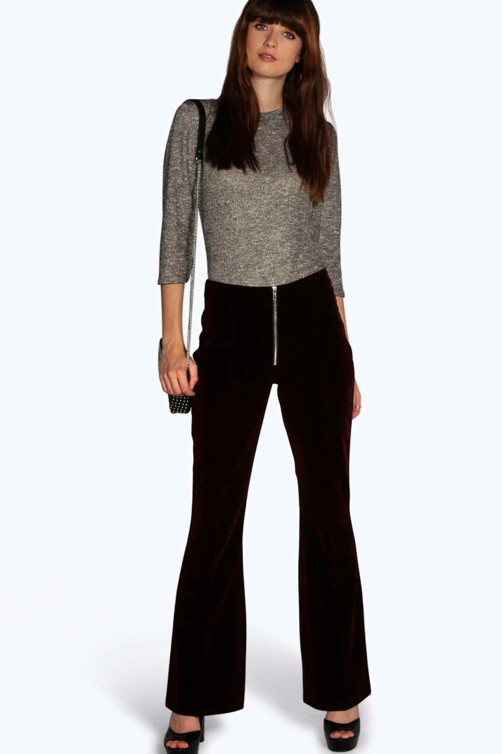 Arianna Zip Front Tailored Velvet Trousers