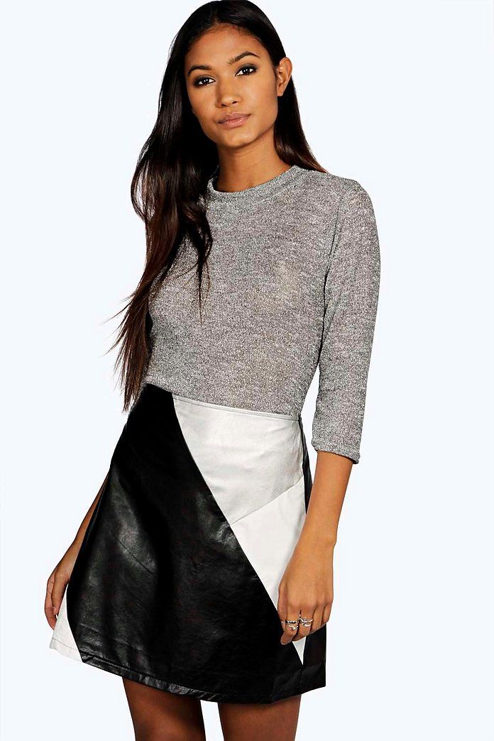 Belle Metallic Colour Block Mini Skirt