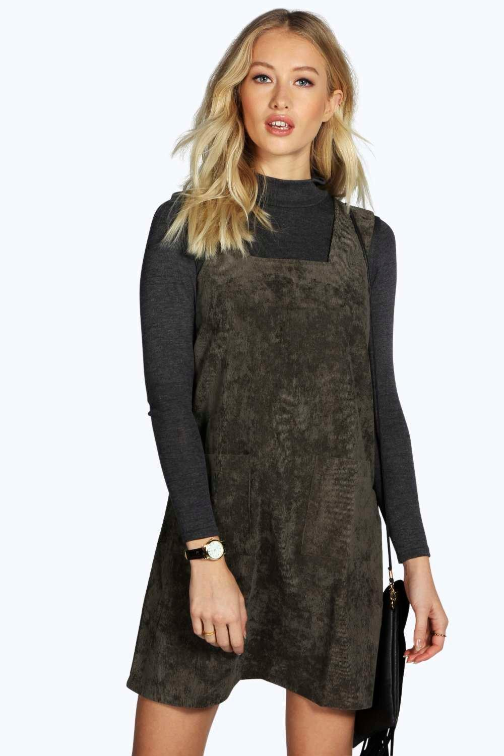Sara Cord Pinafore Zip Dress