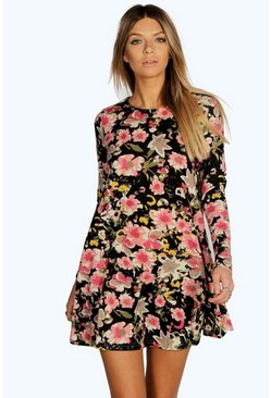Juliette Floral Brush Knit Swing Dress