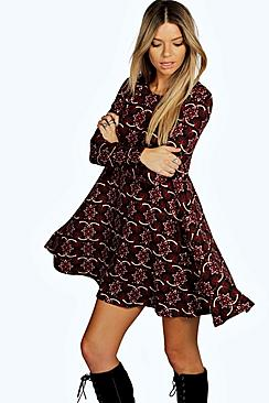 Nadia Brushed Knit Floral Swing Dress
