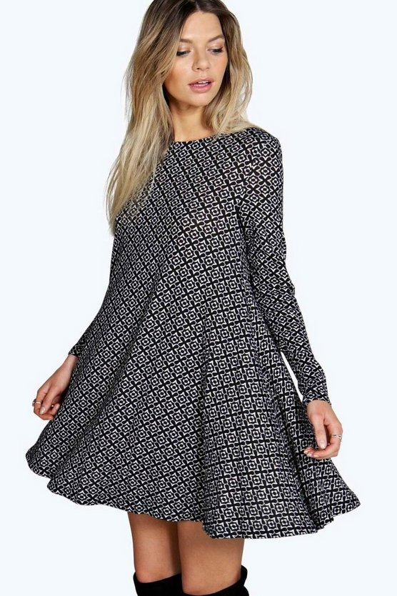 Layla Brushed Knit Geo Print Swing Dress