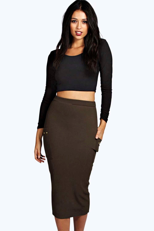 Pocket Side Eyelet Detail Midi Skirt  khaki