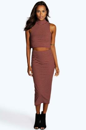 Roxx Textured Stripe Midi Skirt