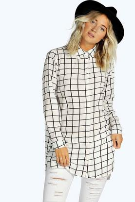 Lily Grid Check Longline Shirt