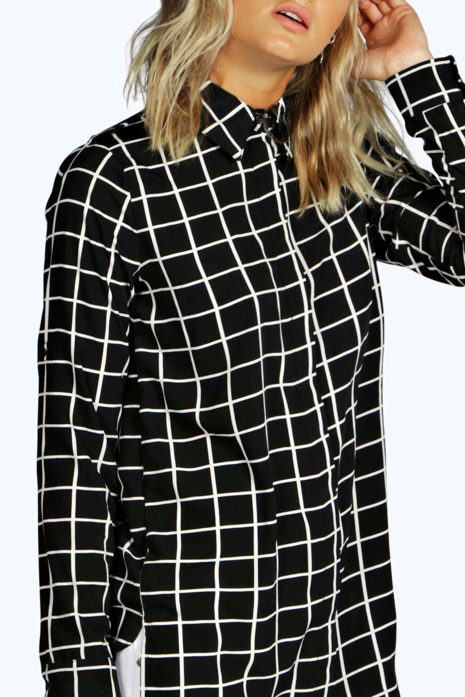 Boohoo lily chemise longue quadrill e pour femme ebay for Fenetre quadrillee