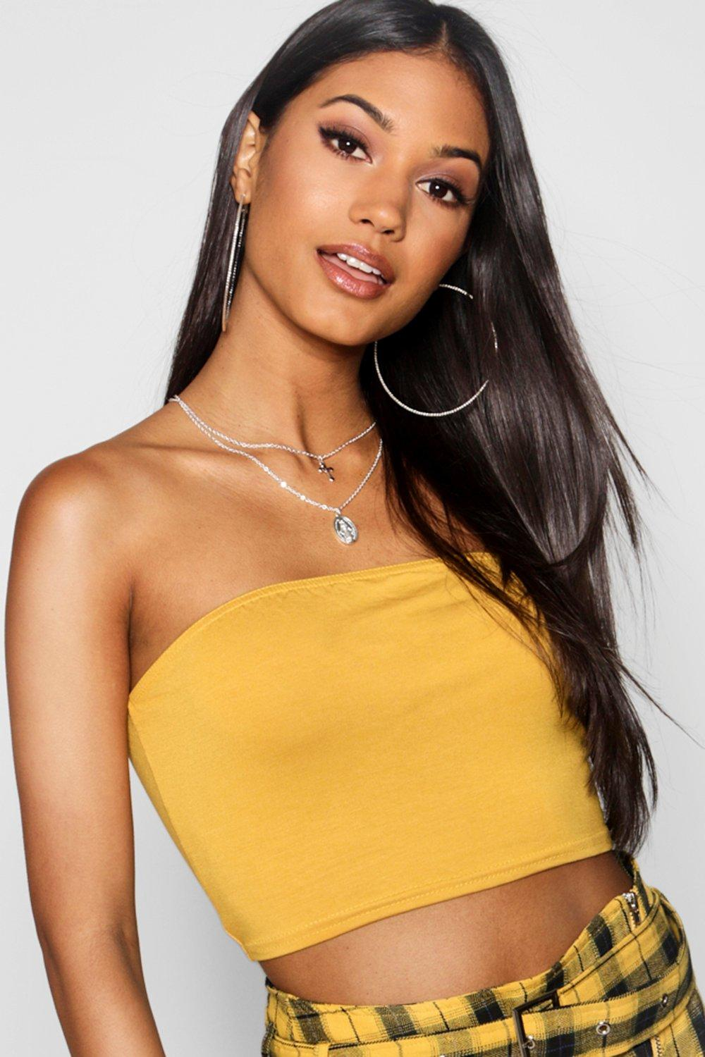 Womens Basic Jersey Bandeau - Yellow