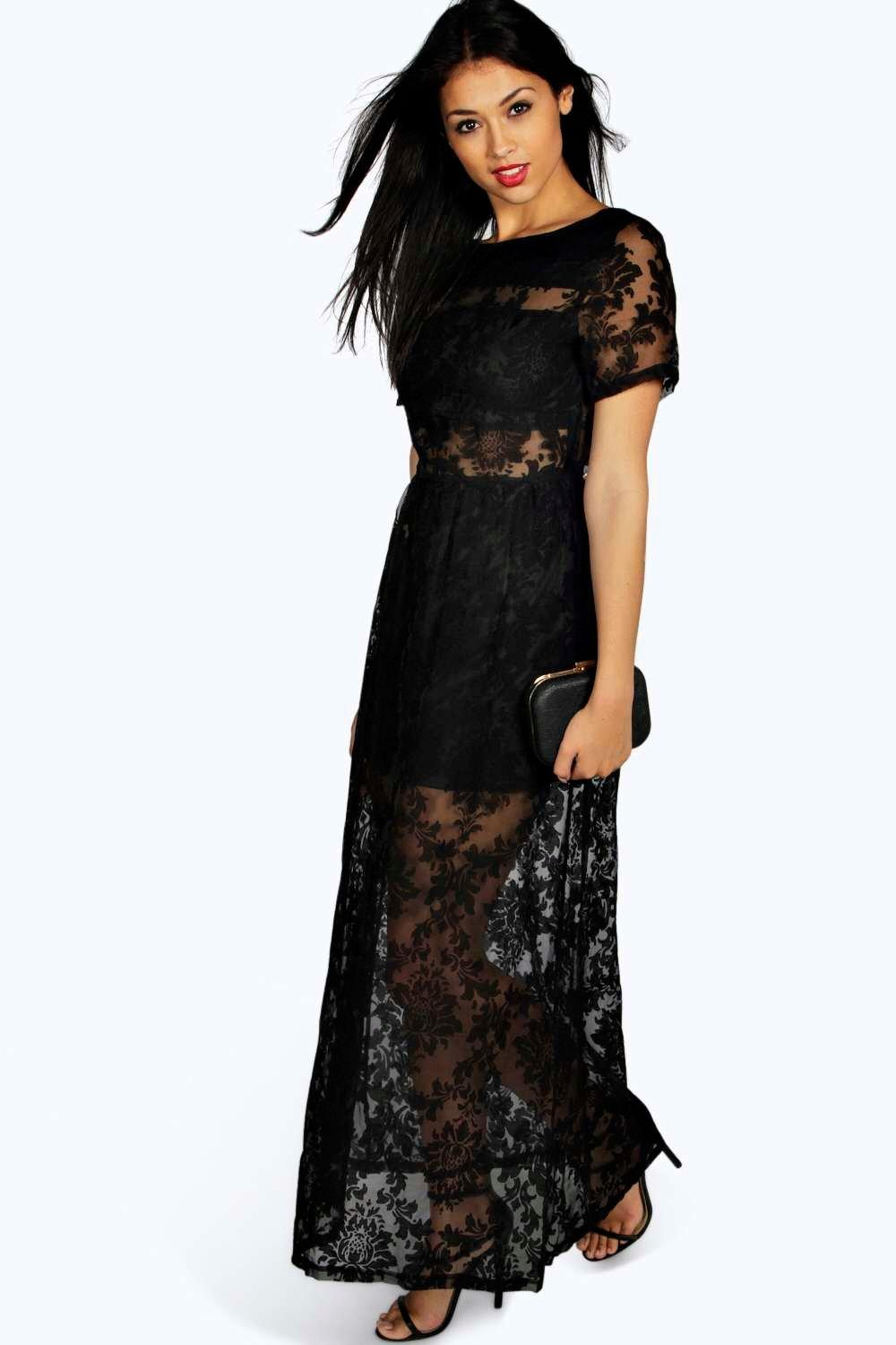 Black maxi dresses for women lace