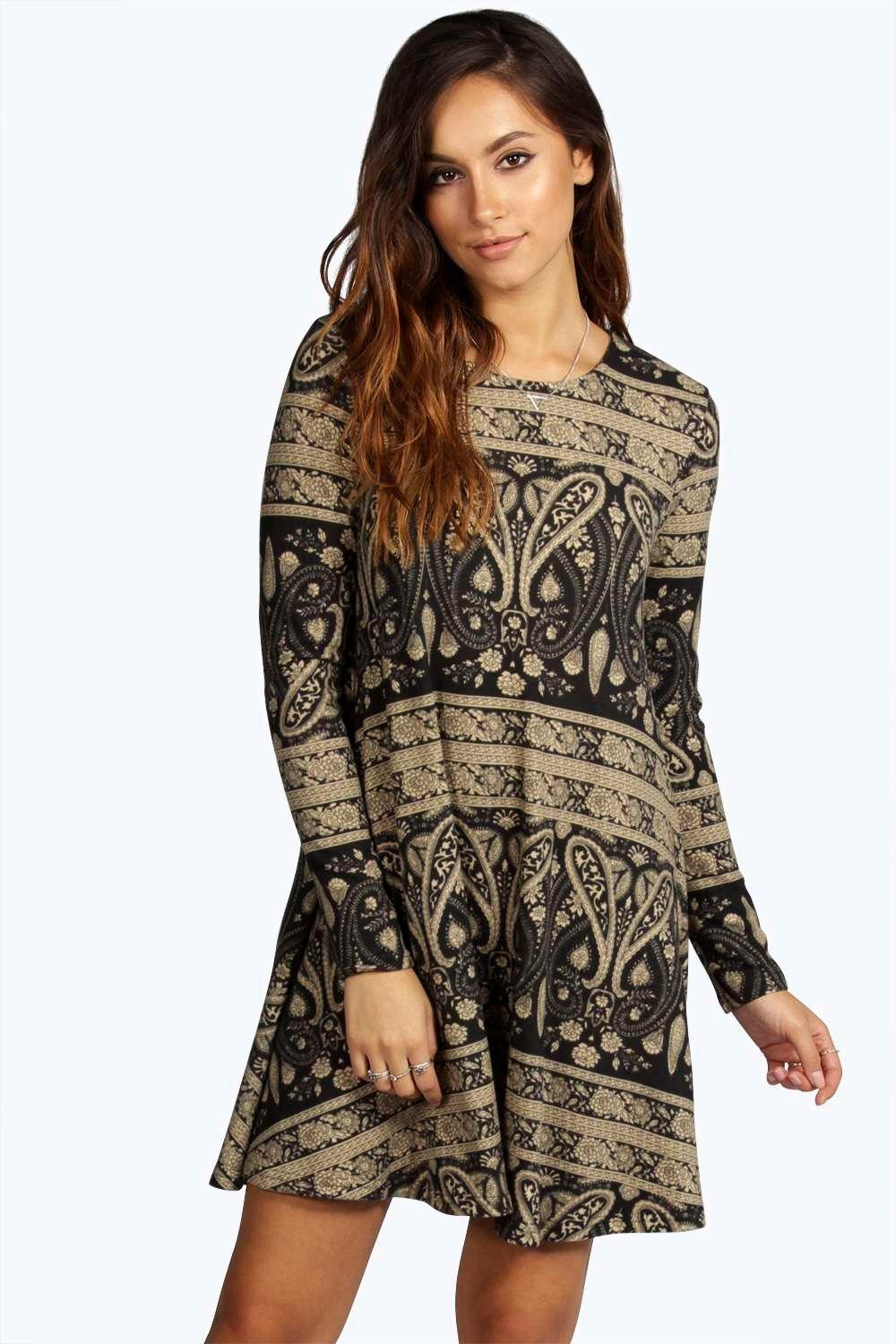 Ramonne Brushed Knit Paisley Swing Dress