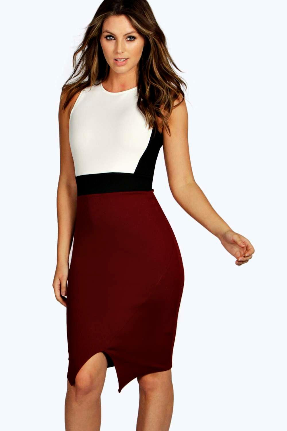 Sonia Contrast Asymmetric Bodycon Dress