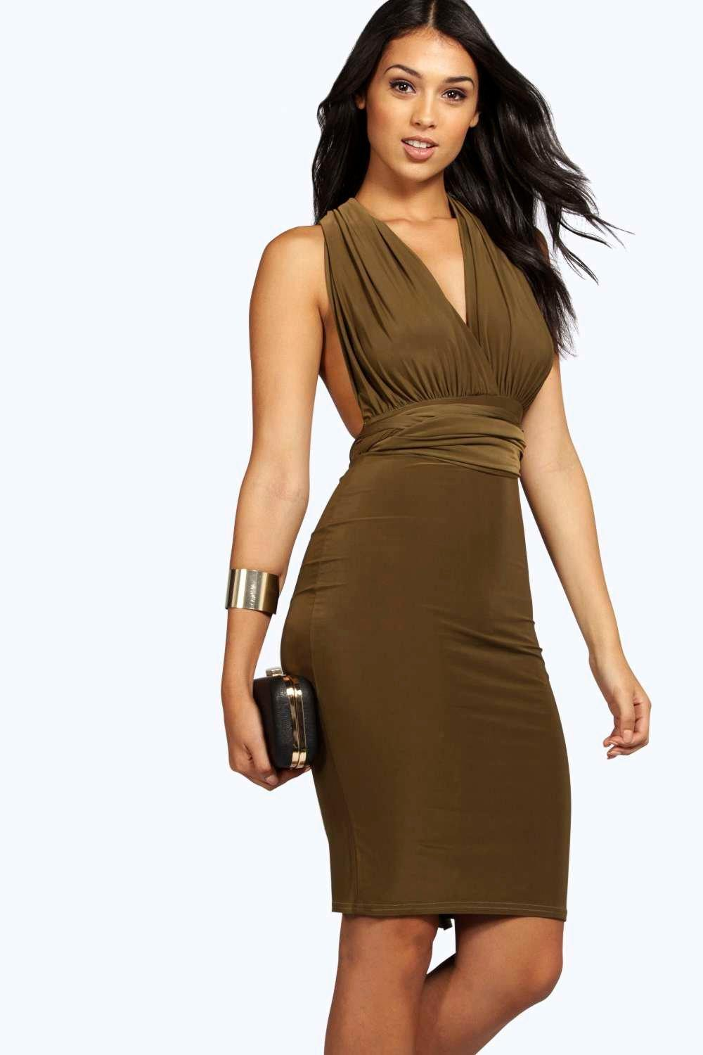 Heidi Multi Way Strappy Slinky Bodycon Dress