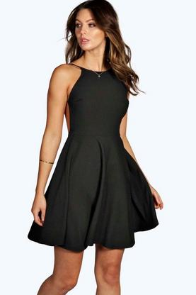 Nancy Crepe Strappy Backless Skater Dress