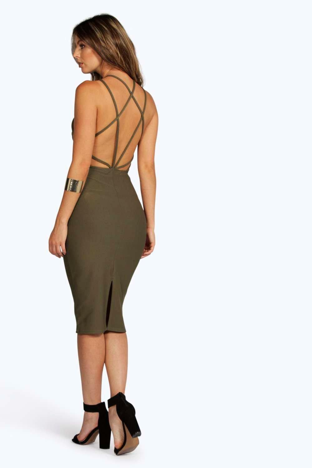 Patsy Crepe Strappy Back Midi Bodycon Dress